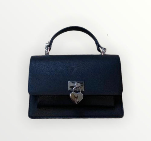 Faux Leather Heart Lock Bag