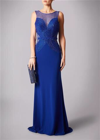 Mascara 181189 Beaded Bodice Dress Blue