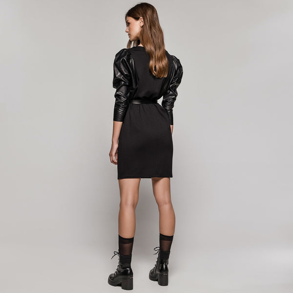 Access 3120 Faux leather sleeve dress