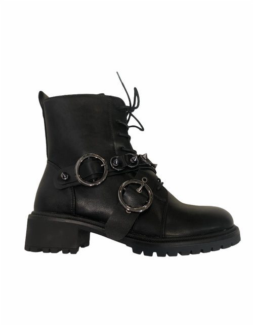 Biker Boots with Studded Buckle