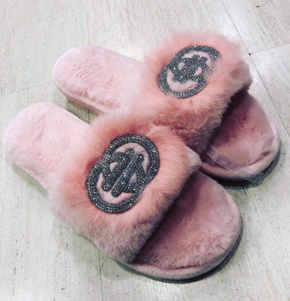 Pink sparkle slippers