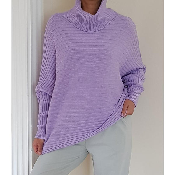 Batwing roll neck wide rib fine knitted jumper