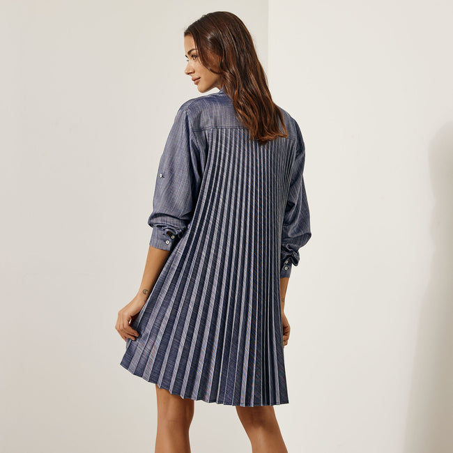 Access Pleated back shirt dress