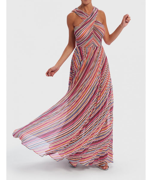 Rainbow Forever Unique Multi Striped Crossover Halter Neck Maxi Dress