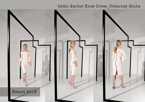 Kevan Jon Ceiba Bardot Knee Dress