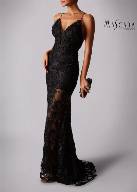 Mascara 181189 Beaded Bodice Dress Black