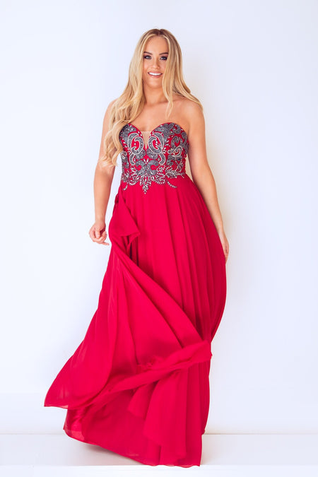 Nadine Merabi Dina Red long Dress