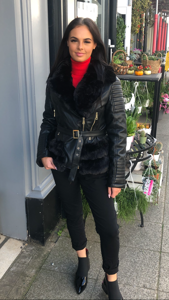 Lily Faux leather and fur jacket