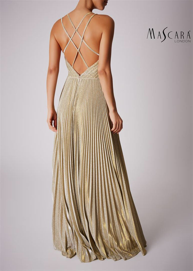 Mascara MC166137 Gold Pleated Dress