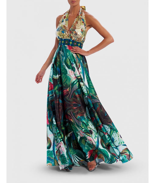 Forever Unique Blue Tropical Print Halter Neck Maxi Dress
