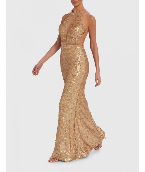 Gold Sequin Embellished Patterned Floor-Length Evening Dress