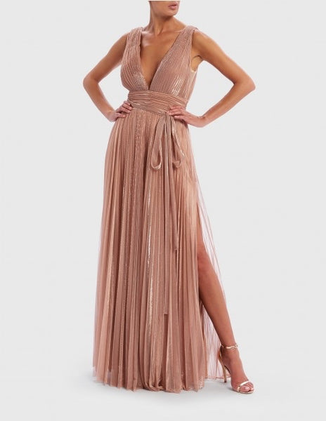 Rose Gold Metallic Pleated Plunge Neck Maxi Dress