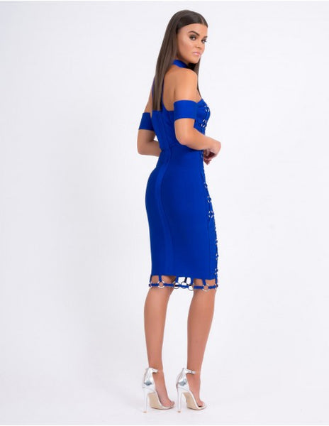 Forever Unique Skyler Bodycon off the shoulder choker Dress