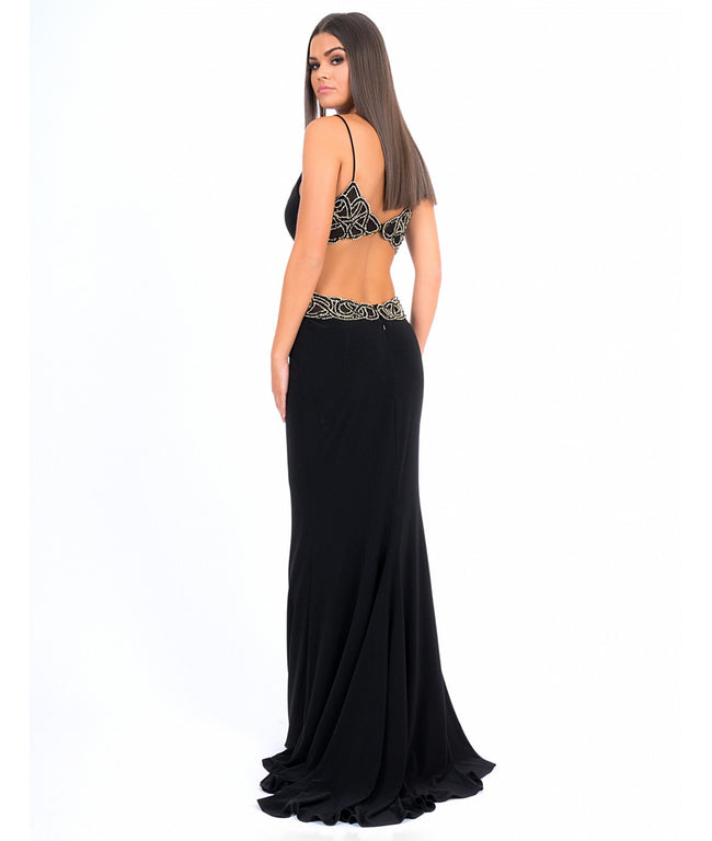 Forever Unique Myra Black and Gold Evening Dress