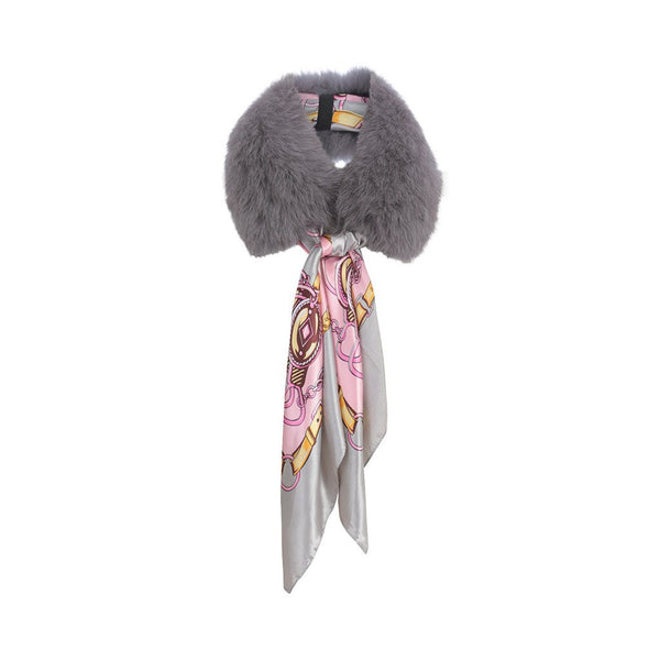 Libby Loves Fur Collar and Detachable Scarf Ruby