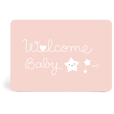 Carte Welcome Baby rose