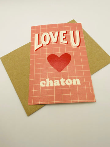 Carte Love U Chaton