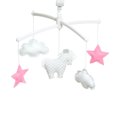 Mobile musical licorne blanche et rose