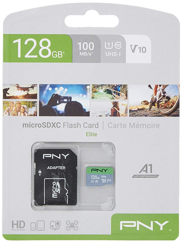 PNY Elite 128GB MicroSDXC Card 100MB/s, V10,  with SD adapter