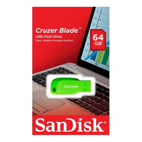 Sandisk 64GB Cruzer Blade USB Flash Drive- Electric Green