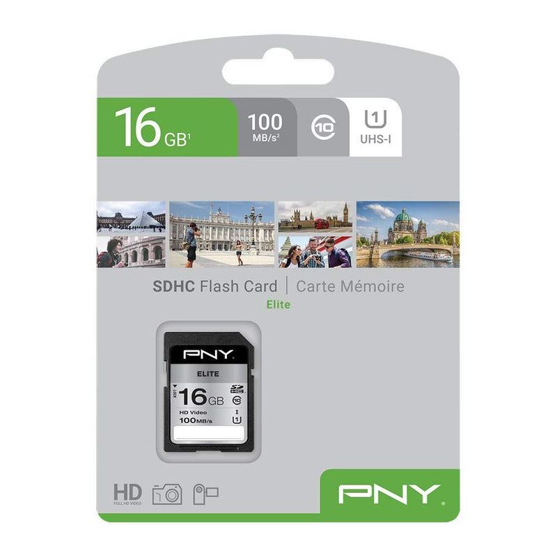 PNY Elite 16GB SDHC Card, UHS-I, Class10, 100MB/s