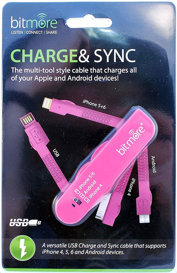 Bitmore Chargeand Sync Cable- Swiss Army style- Pink
