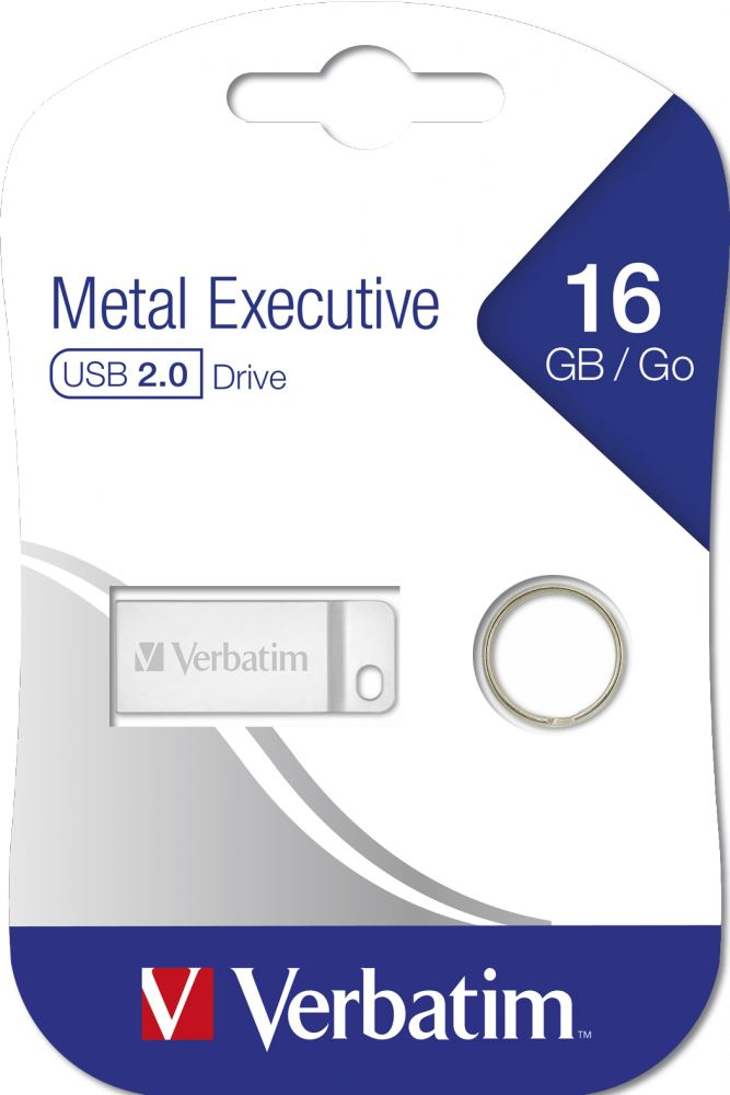 Verbatim 16GB Metal Executive Flash Drive, USB2.0 Silver