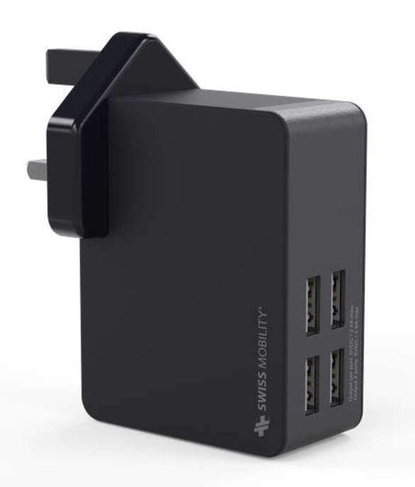 Swiss Mobility Worldwide USB Travel Wall Charger, 4 USB Ports, 4.8AMP Rapid Charge