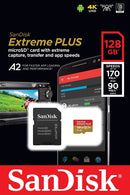 Sandisk Extreme Plus 128GB Micro SDXC Card 170MB/s, V30, A2