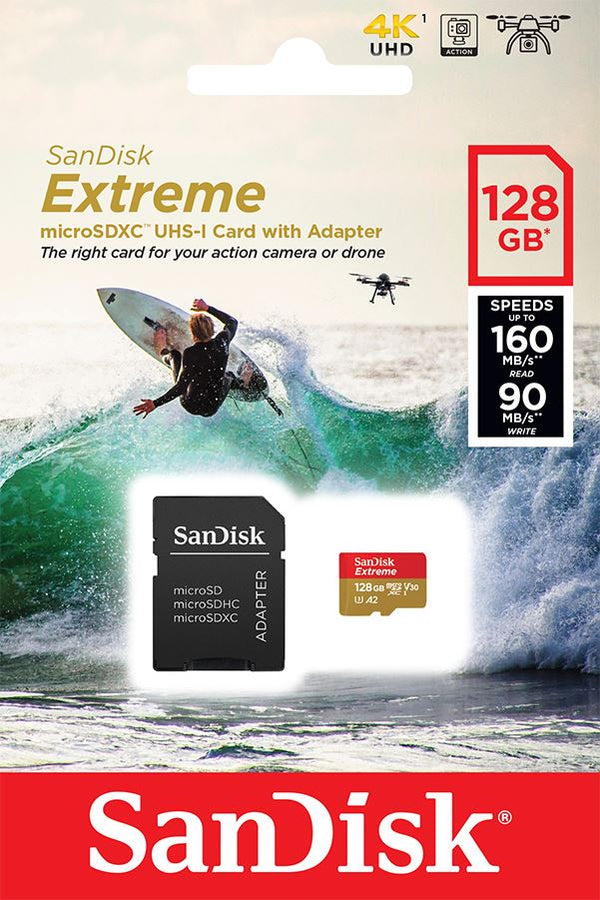 Sandisk 128GB Extreme MiroSDXC Card U3, V30, A2, 160MB/s for Action Cameras
