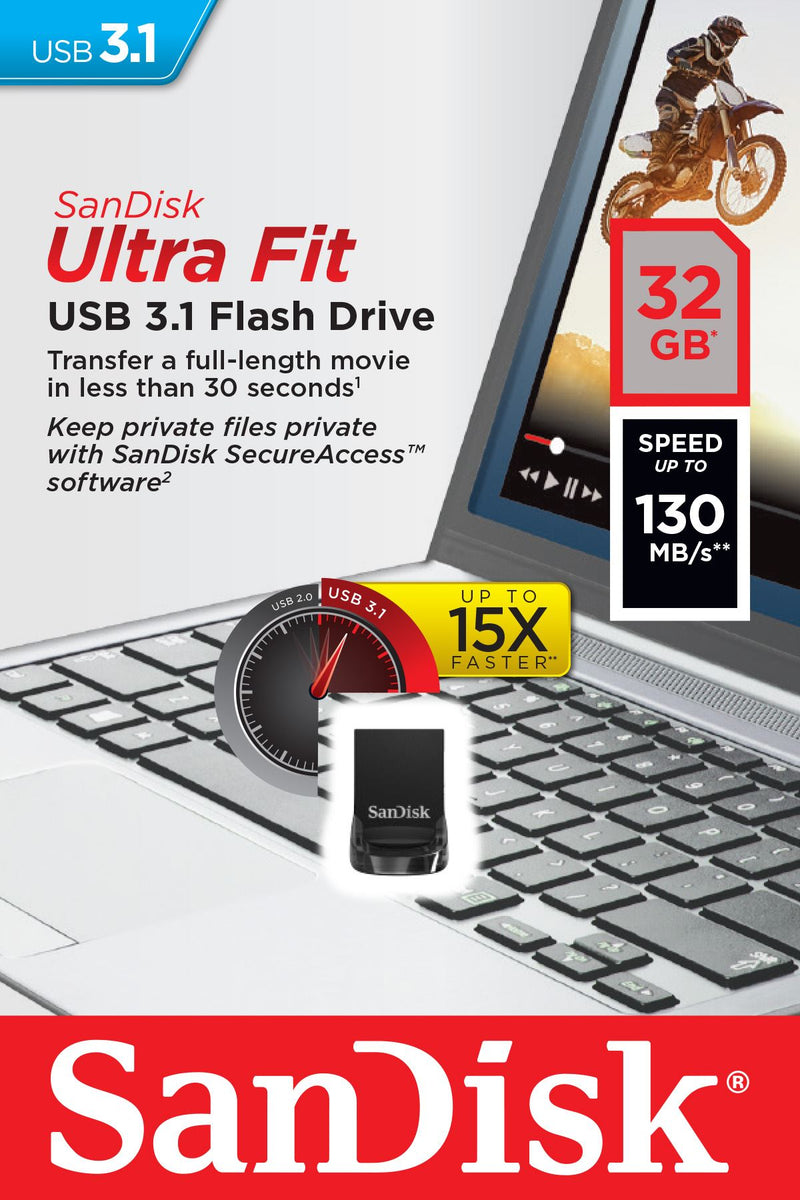 Sandisk Cruzer Ultra Fit 32GB USB3.1 Flash Drive 130MB/s