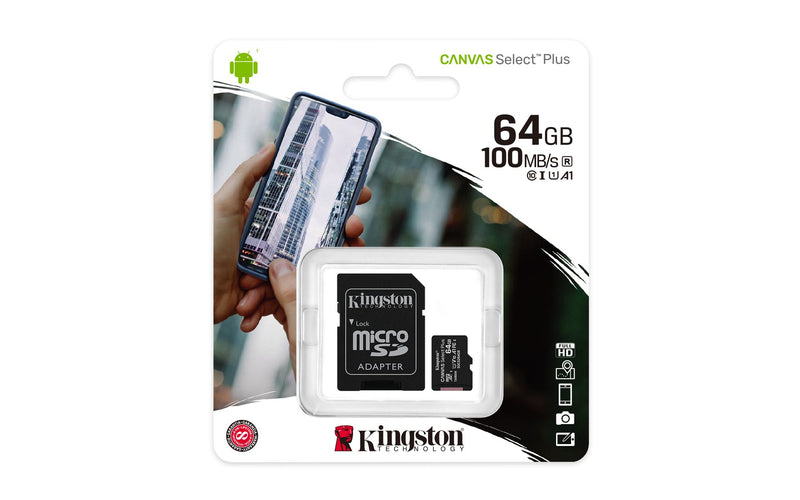 Kingston Canvas Select Plus 64GB MicroSDXC card 100MB/s with Adapter