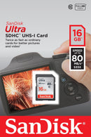 Sandisk 16gb Ultra SDHC card 80mb/s
