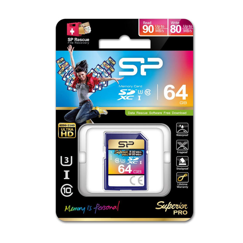 Silicon Power Superior Pro 64GB SDXC Card, U3, 90MB/s