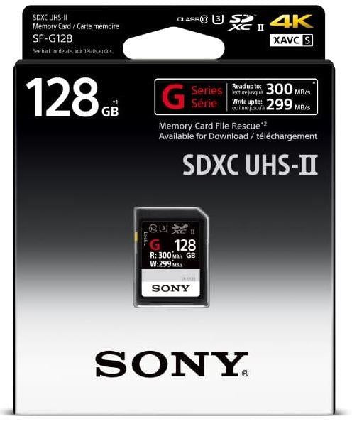 Sony 128GB G-Series SDXC Card UHS-II, 300MB/s