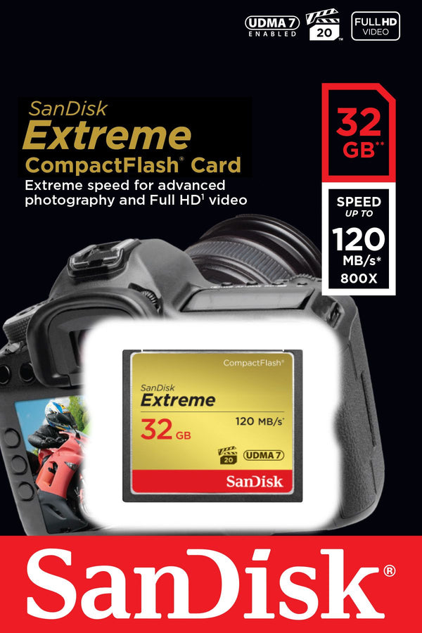 Sandisk 32gb Extreme Compact Flash Card 120mb/s