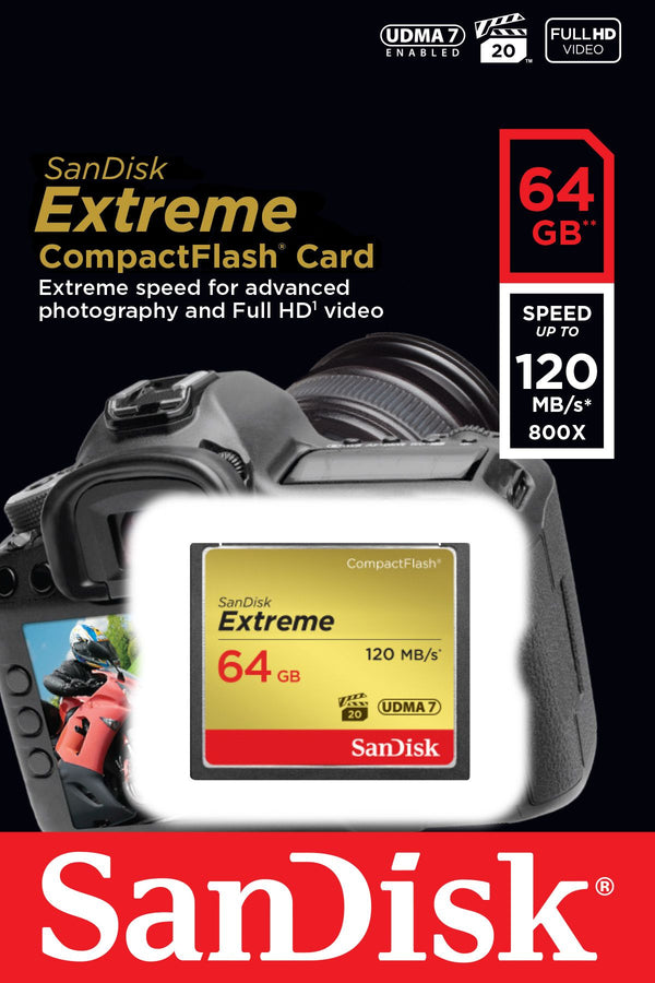 Sandisk 64gb Extreme Compact Flash Card 120mb/s