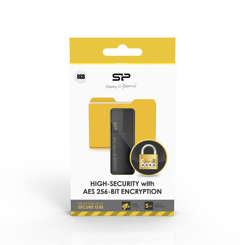 Silicon Power 8GB Secure G50 USB Drive with Hardware Encryption