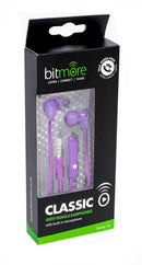 Bitmore Classic in ear Headphones with mic.Purple