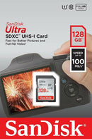 Sandisk 128GB Ultra SDXC card UHS-I, 100MB/s