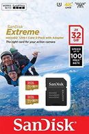 Sandisk 32GB Extreme MicroSDHC U3, V30, A1, 100MB/s, For Action Cameras Twin Pack