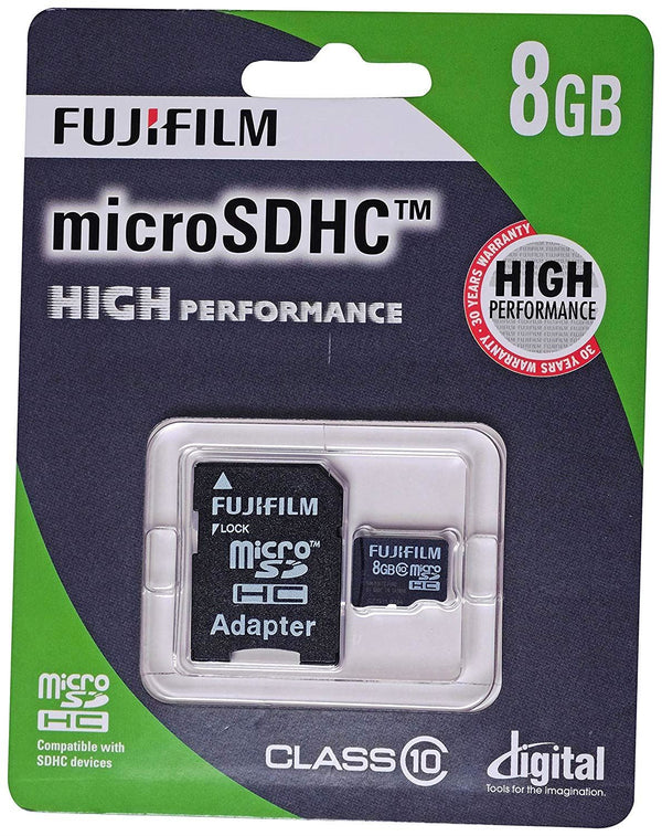 Fuji Film 8GB High Performance Micro SDHC Card, Class 10, with adapter