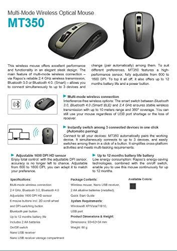 Rapoo MT350 Wireless Mouse Black