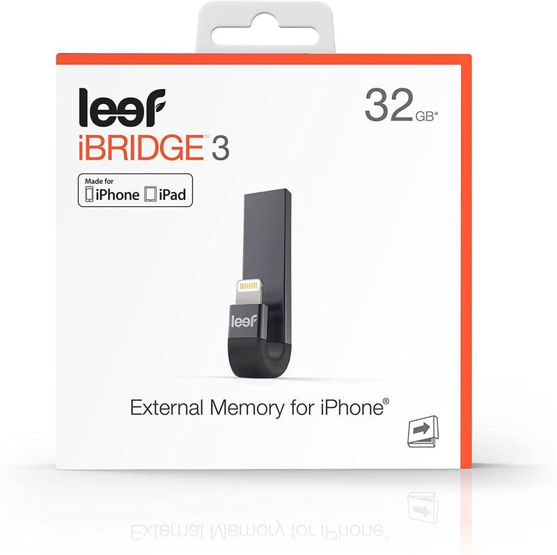 Leef IBridge3 32GB Lightning/ USB3.1 Flash Drive- Black