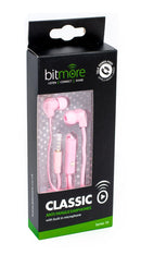 Bitmore Classic in ear Headphones with mic.Pink