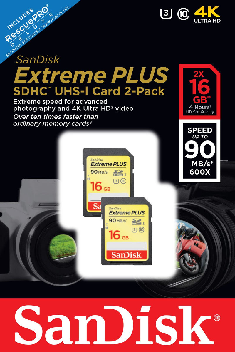 Sandisk 16gb Extreme Plus SDHC U3, 90mb/s Twin Pack