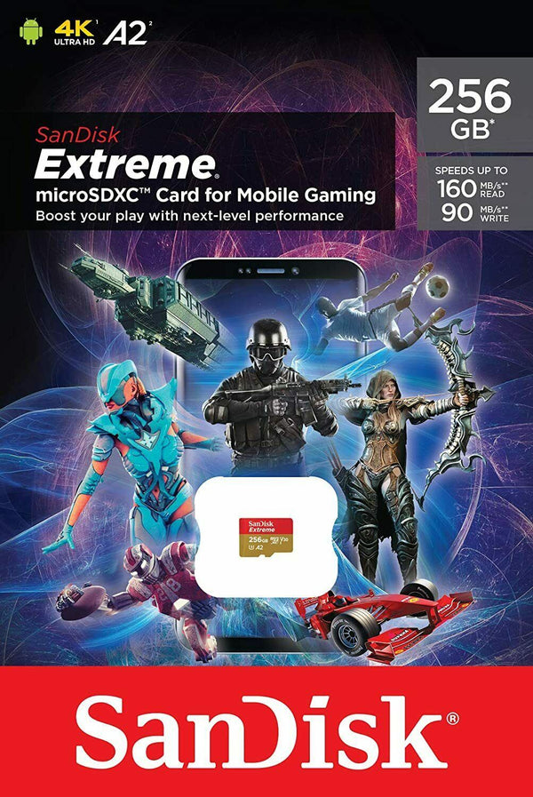 Sandisk 256GB Extreme MiroSDXC Card U3, V30, A2, 160MB/s for Mobile Gaming