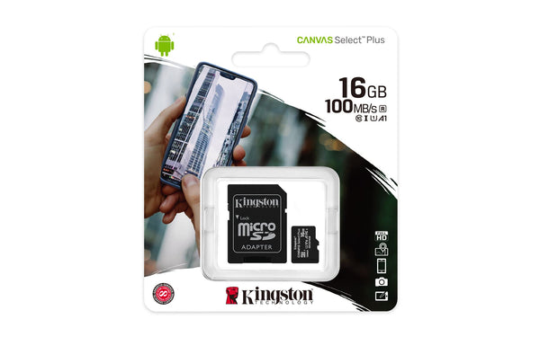 Kingston Canvas Select Plus 16GB MicroSDHC card 100MB/s with Adapter