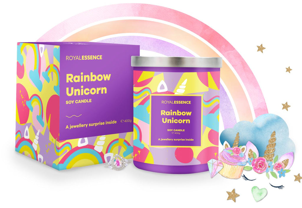 Rainbow Unicorn Jewellery Candle - Millennial Candle gifting guide
