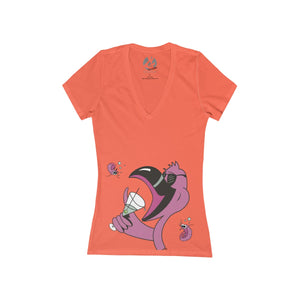 """Happy Hour"" Women's Jersey Short Sleeve Deep V-Neck Tee by Joe Cool - GaleraCollective"
